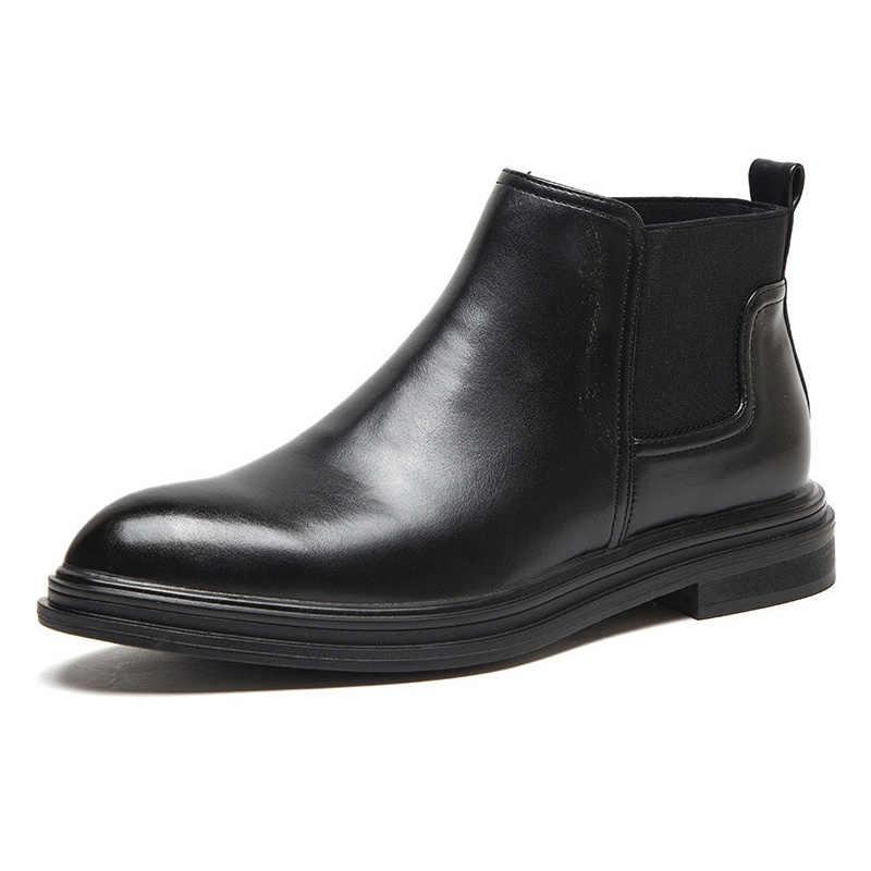 2019 hiver Chelsea bottes hommes en cuir chaussures hommes bottines marque de mode automne hiver chaussures pour homme KA1852