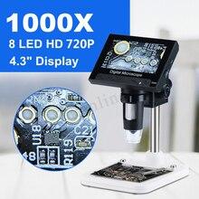 "1000x2.0mp usb microscópio eletrônico digital dm4 4.3 ""display lcd vga microscópio digital 8 suporte led para pcb placa mãe repaire"