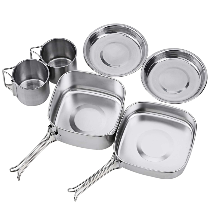 Backpacking Camping Cookware Pot Set Outdoor Mess Kit Stainless Steel Camping Cook Set For Hiking Backpacking Trekking Picnic