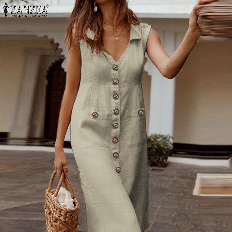 ZANZEA Women V Neck Buttons Down Dress Summer Sleeveless Cotton Linen Sundress Casual Sarafans Vestido Party Tanks Dress