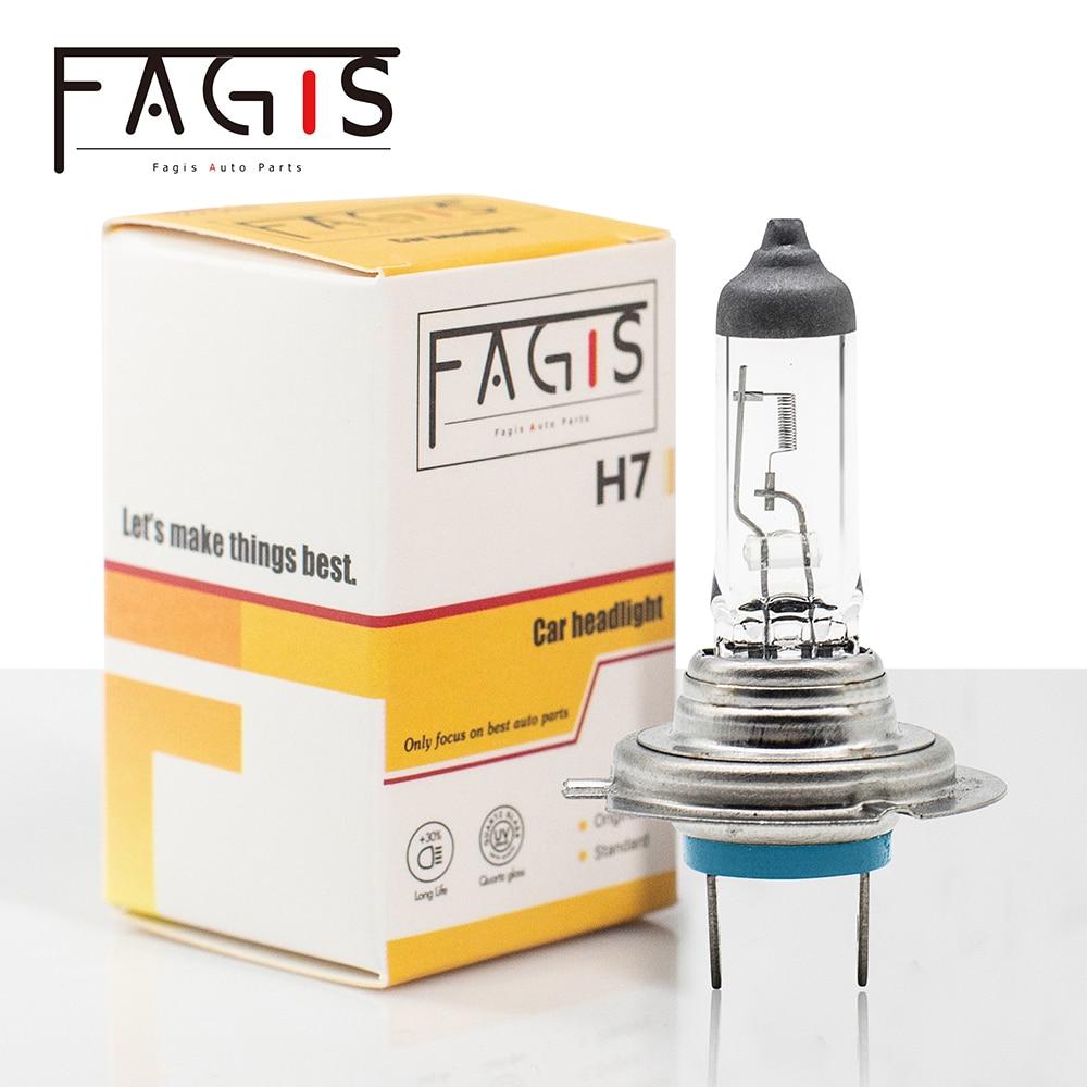 Fagis Hot Sale H7 12v 55w 3350K Clear Car Headlight Quartz Glass White Lights Auto Lamps Halogen Bulbs 1Pcs