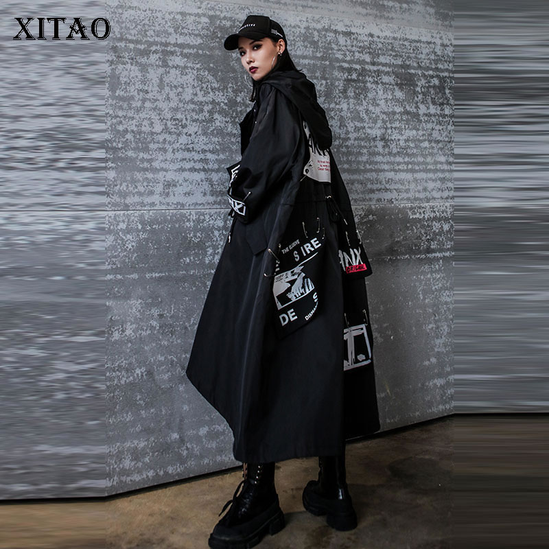 XITAO Letter Plus Size Trench Women Korea Fashion New 2019 Autumn Wide Waist Single Breasted Irregular Wind Cold Coat ZLL1100