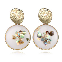 European and American Hot New Earrings Creative Simple Retro Epoxy Gravel Alloy Geometric round Ear Stud new style european and american style earrings retro fashion ear stud hot selling jewelry