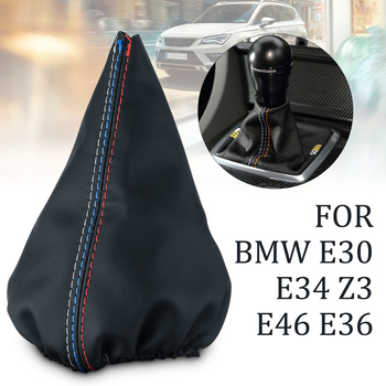 Durable Black Leather Shifter Shift Boot Cover For BMW E30 E34 Z3 E46 E36 image