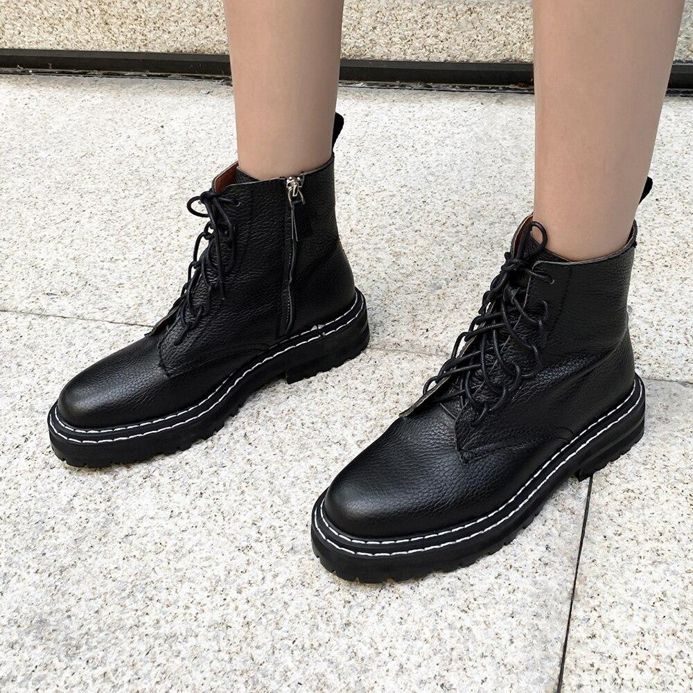 De talla grande 34 43 nuevos zapatos Martin de cuero genuino para mujer con cremalleras botas casuales botas de invierno abrigadas con cordones botas de moda para damas - 2