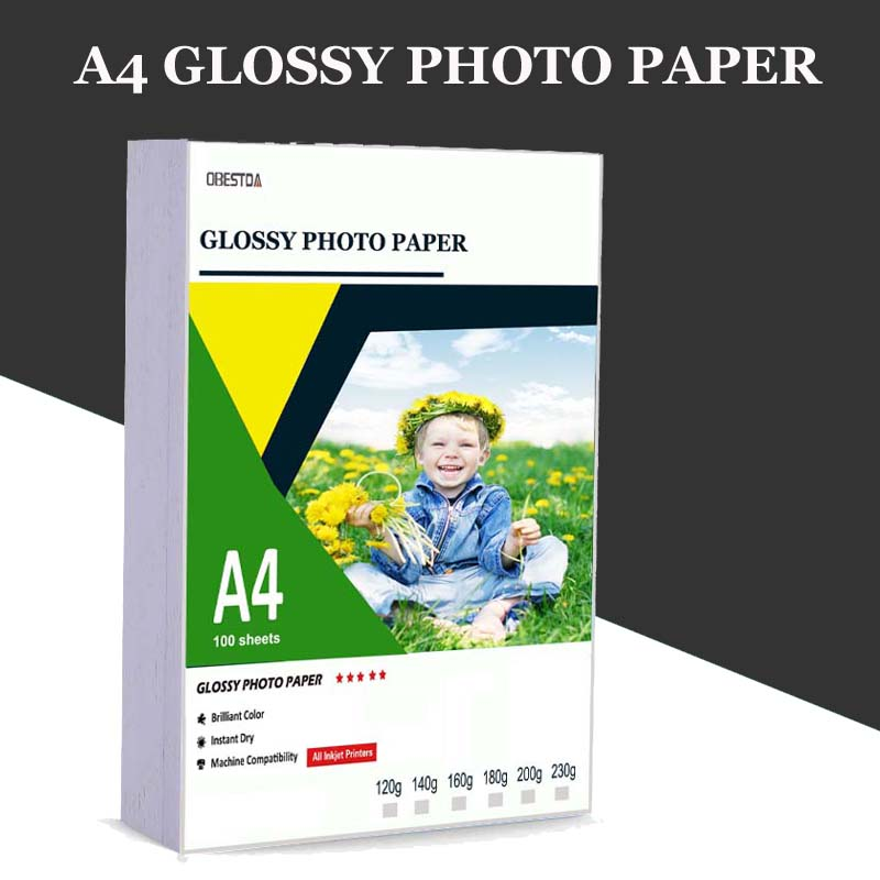 A4 100 sheets Photo Paper Glossy Printer Photographic Paper High-gloss paper for Inkjet Printer Office image