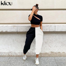 Kliou 2019 high waist black amp white patchwork sporty harem pants autumn winter women loose casual sporty streetwear trousers cheap Full Length Polyester spandex Elastic Waist Flat P1735336 Knitted Cargo Pants Pockets