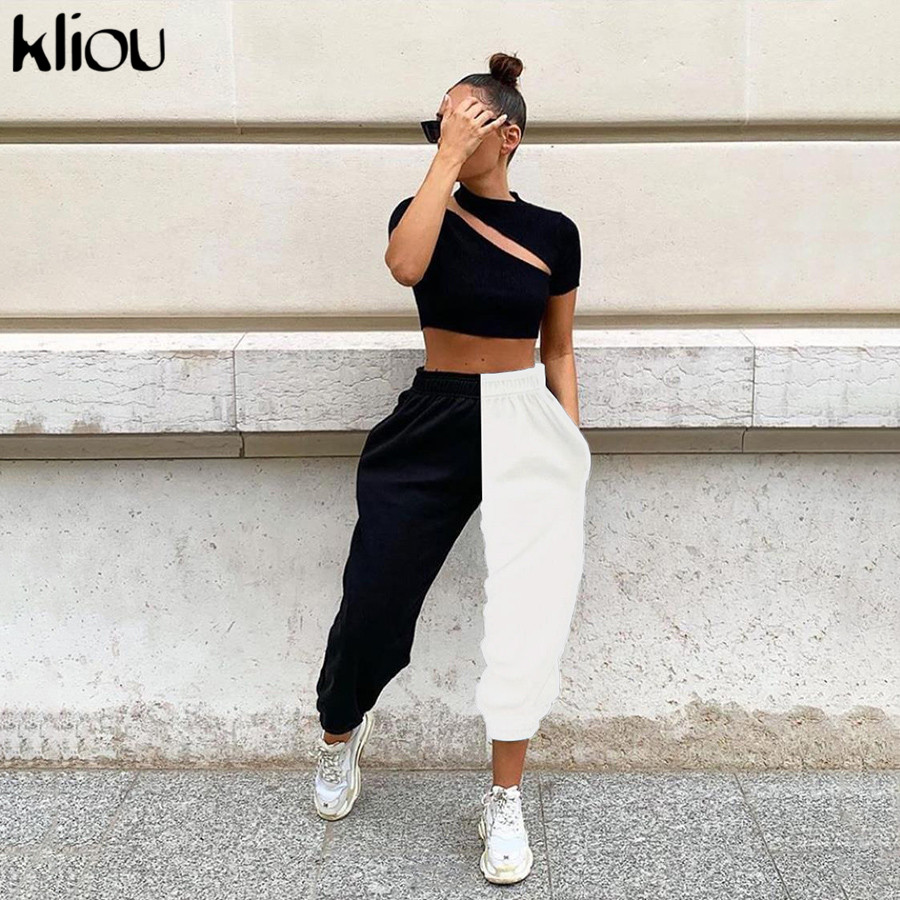 Kliou 2019 high waist black&white patchwork sporty harem pants autumn winter women loose casual sporty streetwear trousers(China)