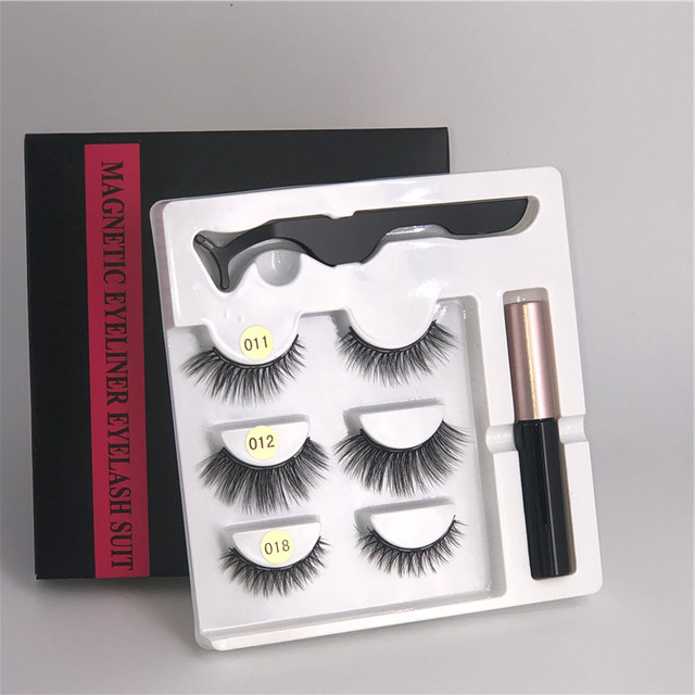 Makeup 3 pairs of magnetic eyelashes + liquid eyeliner + tweezers, waterproof long lasting eyelash extension eyelash set 1