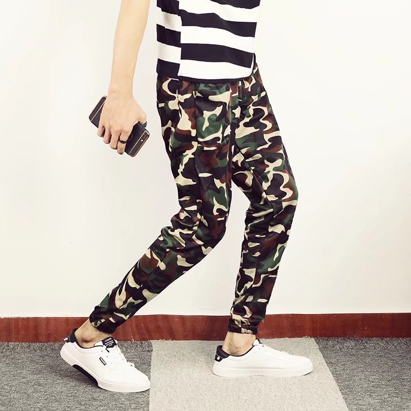 Men Camouflage Pants Men's Summer 2018 Thin Skinny Pants Men's Korean-style Trend Casual Pants Men's Slim Fit Athletic Pants