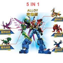 5in1 Transformation Robots Toys Action Figure Metal Dinosaur Rangers Deformation Robot Collections Megazords