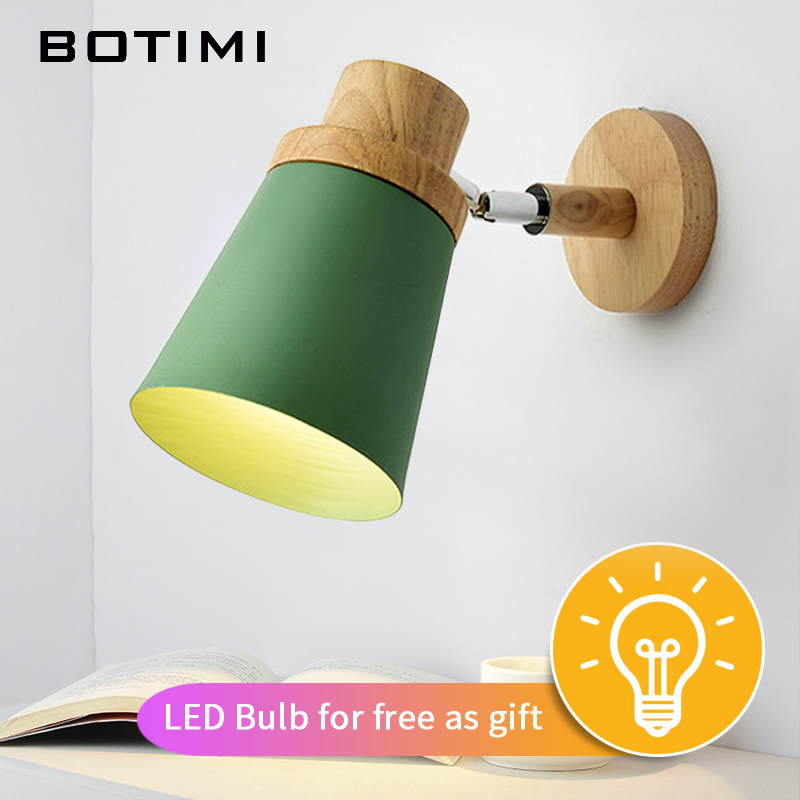 Image 2 - BOTIMI Nordic LED Wall Lamp For Bedroom Reading Wall Sconce Bedside Luminaira Modern Wooden E27 Wall Mounted Lighting Fixtures-in LED Indoor Wall Lamps from Lights & Lighting