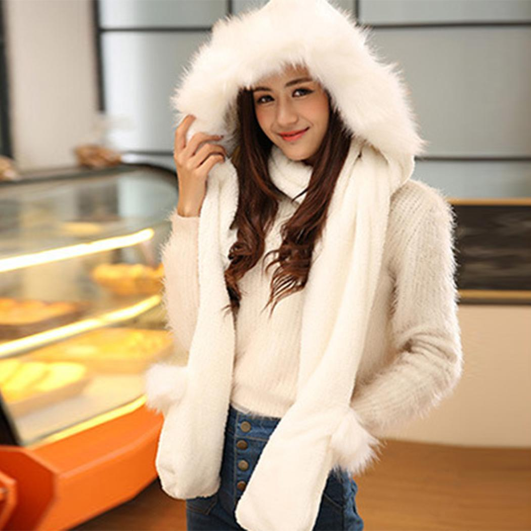3 In 1 Gloves Cap Hooded Solid Mitten Scarf Women Winter Warm Clothing Daily Life Accessories