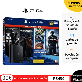 Videoconsola PS4 Pro 1Tb Negro/ PS4 Pro 1TB+The Last of Us+Uncharted Collection+Uncharted 4+El Legado Perdido
