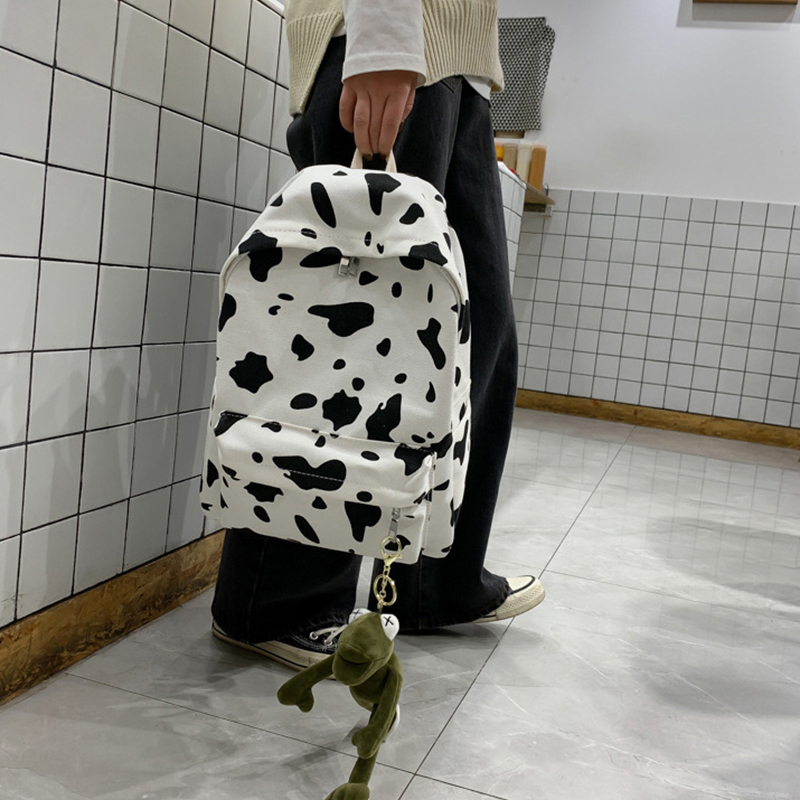 2pcs/set Cute Milk Cow Printing Backpack Women Canvas Travel Mochila School Bag For Teenager Girls Fashion Rucksack