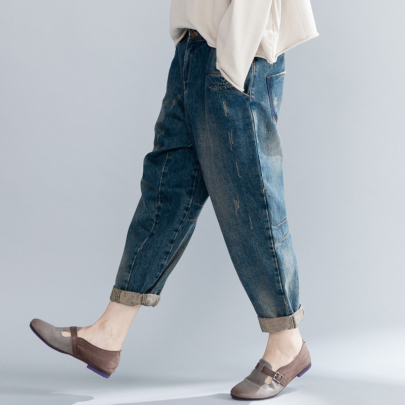 2020 New Women Baggy Loose Fit Streetwear Jeans Vintage Cotton Quality Denim Harem Pants Autumn Casual Harajuku Ladies Trousers