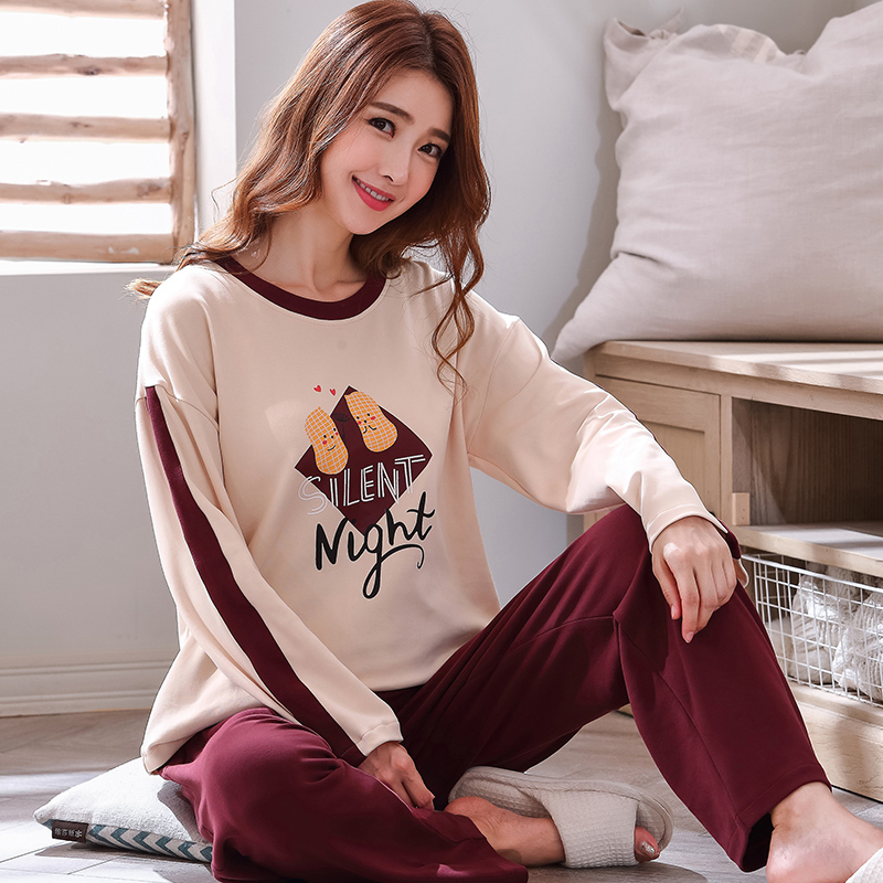 Autumn Winter Cotton Cartoon Pajamas Set Women Pyjamas Homewear Long Sleeve Sleepwear Plus Size Home Clothes Night Suit Female