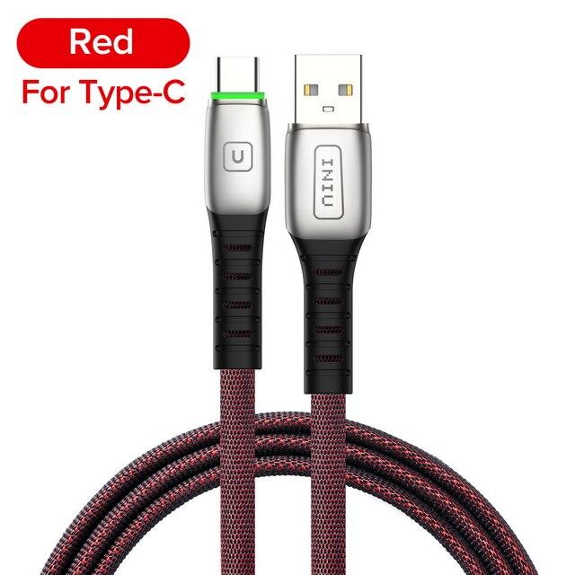 INIU 2 м 3 а светодиодный USB кабель зарядное устройство для iPhone 11 Pro XS MAX XR X 8 7 6S 6 Plus 5 5S шнур для быстрой зарядки мобильного телефона - Цвет: Red For Type C