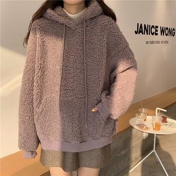 QRWR 2020 Women Hoodie Korean Style Winter Casual Cute Kawaii Warm Sweatshirt Loose Female Pocket Oversized Hoodies for Girls 6