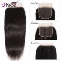 UNice Hair Peruvian Straight Hair Lace Closure Free& Middle&Three Part Remy Human Hair Closure 4x4 Swiss Lace 1 PCS
