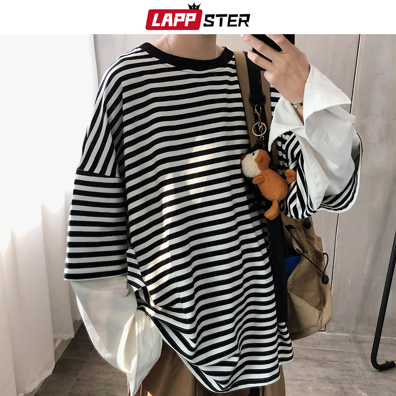 LAPPSTER Men Fake Two Pieces Harajuku Striped Hoodies 2020 Autumn Hip Hop Japanese Streetwear Sweatshirt Male Oversize Pullovers