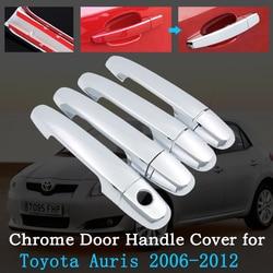 Chrome pokrywa klamki drzwi samochodu dla Toyota Auris Corolla Blade E150 2006 ~ 2012 zewnętrzne pokrycie zestaw akcesoria 2008 2009 2010 2011 w Naklejki samochodowe od Samochody i motocykle na