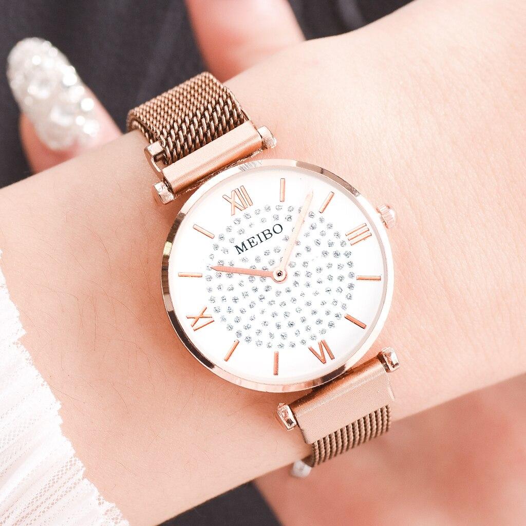 Rhinestone Women Watches Luxury Rose Gold Magnetic Ladies Wrist Watches For Women Bracelet Watch Female Clock Relogio Feminino