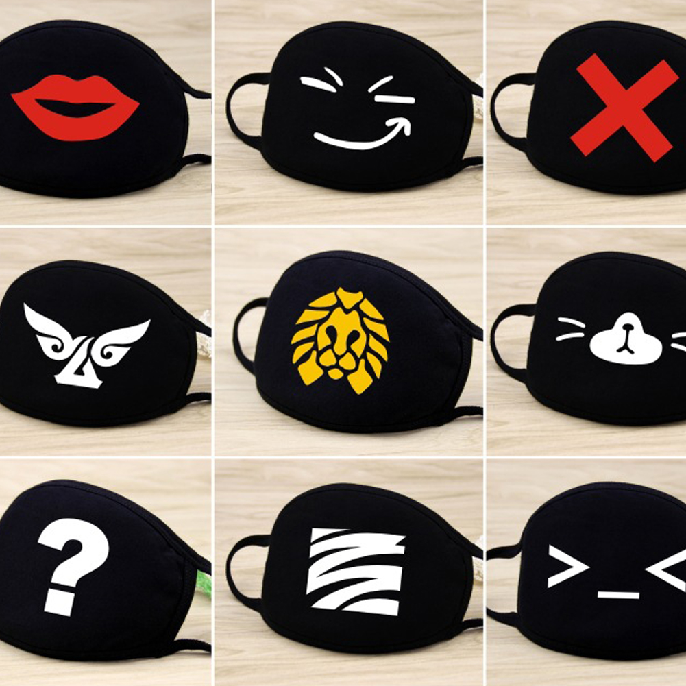 Cute Cartoon Pattern Mouth Mask Pure Cotton Washable Breathable Cartoon Mouth Cover Mask Face Mouth Mask For Kids Women Men