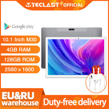 4G Phablet 10.1 Inch Tabletten Android 8.0 Teclast M30 4Gb Ram 128Gb Rom 2560X1600 Tablet pc MT6797 X27 Deca Core 7500Mah Gps
