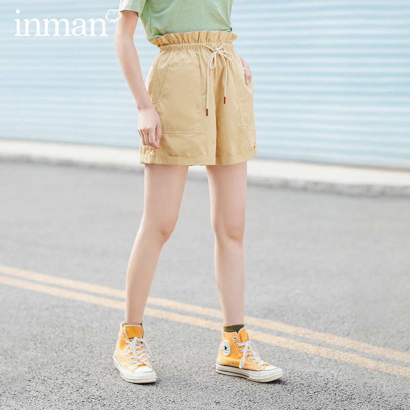 INMAN 2020 Summer New Arrival Sweet Girl Casual Cotton All Matched Fit Shaped Waist Big Pocket Pants