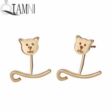 QIAMNI Lovely Cat Animal S shaped Ear Jackets Piercing Stud Earring Birthday Party Gift Front Back Earring Jewelry Pendientes(China)