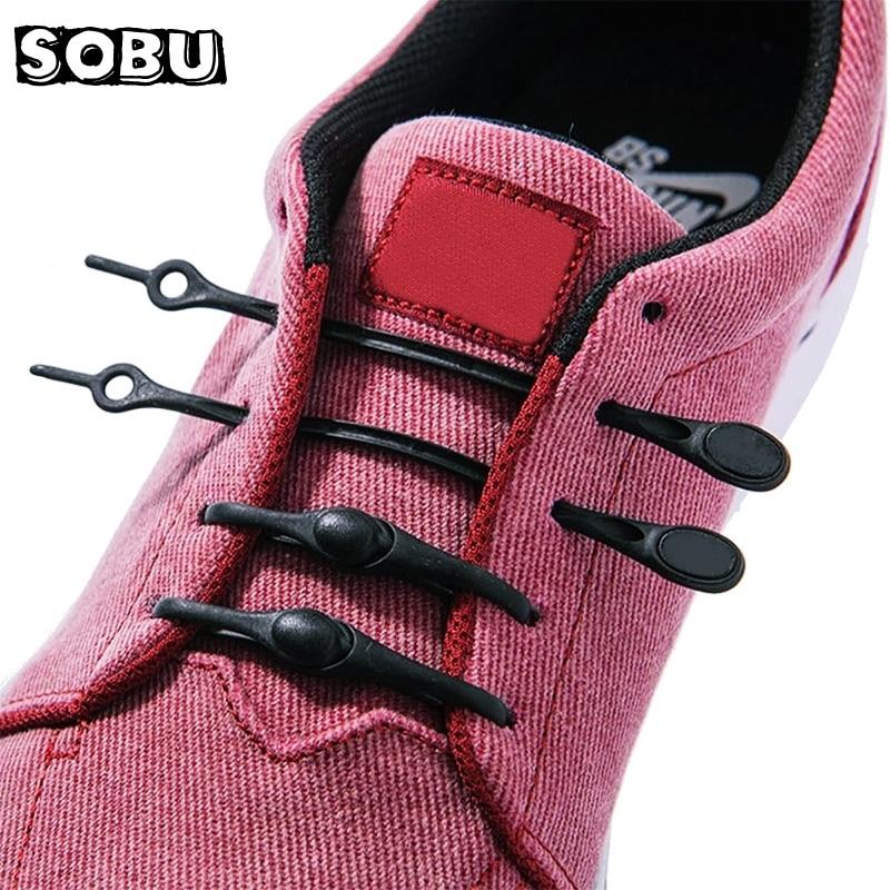 12pcs/lot Silicone Shoelaces Round Elastic Shoe Laces Special No Tie Shoelace For Men Women Lacing Rubber Zapatillas N004
