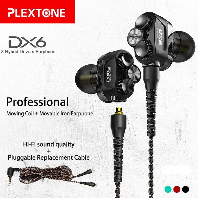 Plextone DX6 bluetooth kulaklık üç adet 3.5mm kulak içi kulaklıklar spor Stereo bas HIFI kablolu kulaklık MMCX kablosu xiaomi