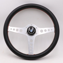 Steering-Wheel Drift Sport Silver Aluminum 14inch ND Lightweight Real-Leather