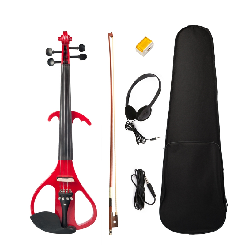Solid Wood Electric Silent Violin 4/4 Full Size Red, Ebony Violins Accessories