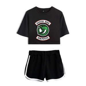 Image 5 - Fashion  American TV Riverdale Women Sexy Summer T Shirt  Woman New Suit Shorts Crop Fashion Top Shorts Two Piece Set