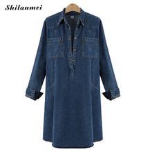 Plus Size 4xl 5xl Women Denim Dress Fashion Lady Denim Dress Deep Blue 2019 Spring Autumn Long Sleeve Pockets Jeans Shirt Dress plus size brief slash pockets blue dress