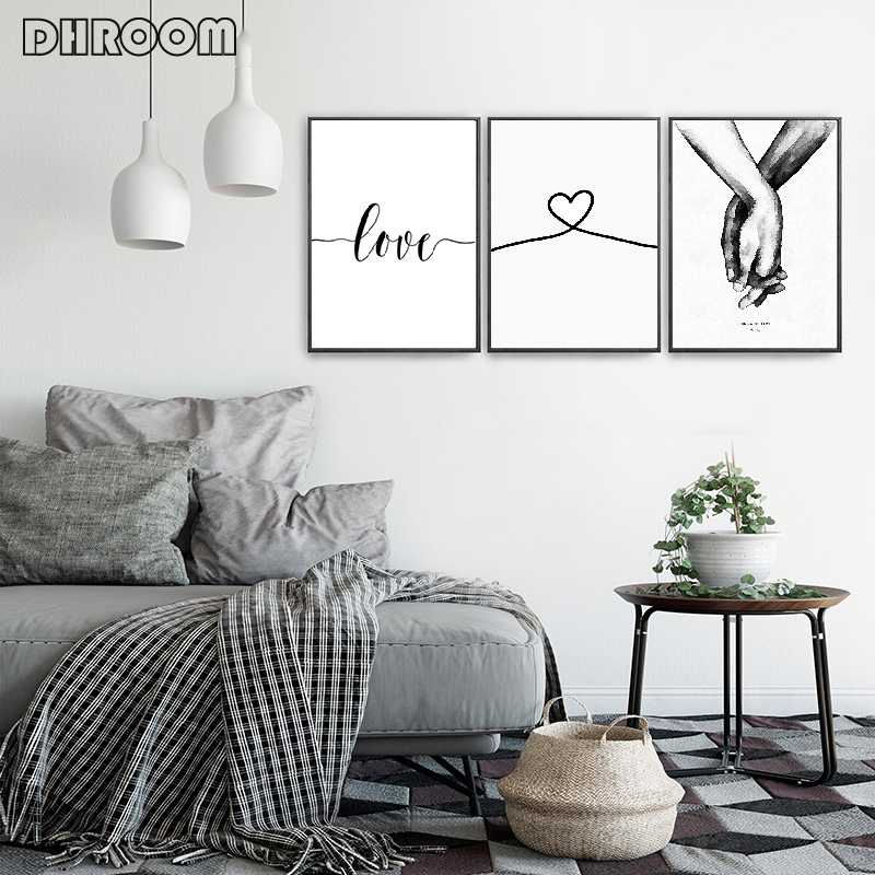 Nordic Back White Style Sweet Love Wall Art Canvas Poster Minimalist Print LOVE Quotes Painting Picture Nordic Back White Style Sweet Love Wall Art Canvas Poster Minimalist Print LOVE Quotes Painting Picture for Living Room Decor