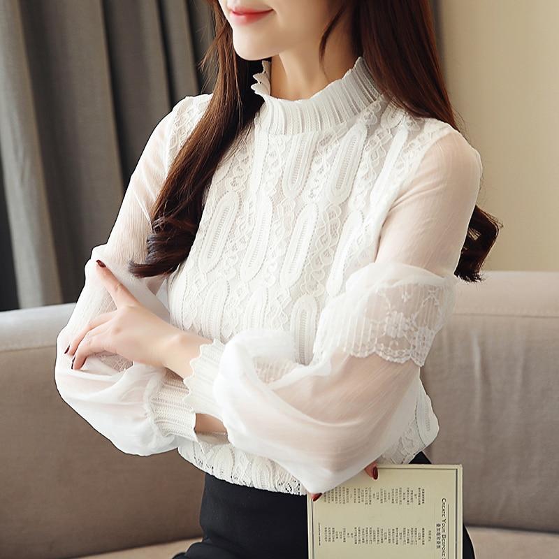 Korean Women Blouses Woman Chiffon Lace Blouse Shirts Elegant Print Shirt Plus Size Womens Top