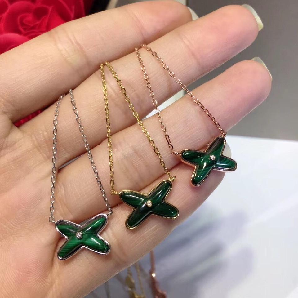 2019 nouveaux bijoux de créateur accessoires de luxe S925 en argent sterling malachite en forme de X collier pour les femmes