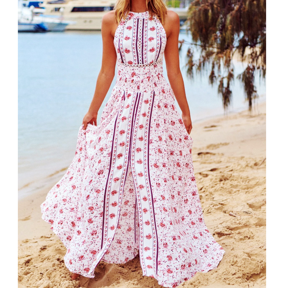 Summer Dress Women 2020 Sexy Sleeveless Backless Floral Print Bohemia Maxi Dress Casual High Waist Split Beach Long Party Dress