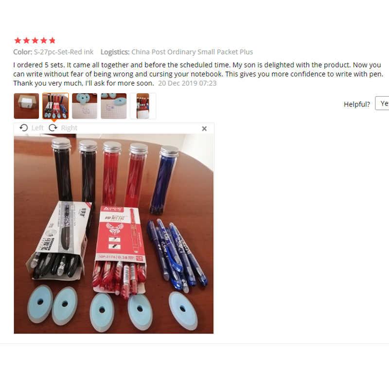 27 sztuk/zestaw zmazywalny żel długopis niebieski atrament 0.5mm zmywalny uchwyt Kawaii długopisy Refill pręty do szkoły Pen pisanie narzędzia śliczne biurowe