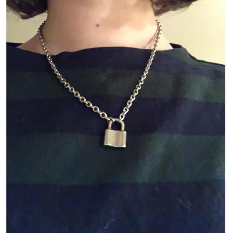 Ze stali nierdzewnej srebrny kolor kłódka naszyjnik Brand New Rolo kabel łańcuch naszyjnik kołnierz ras du cou collier femme kobiety