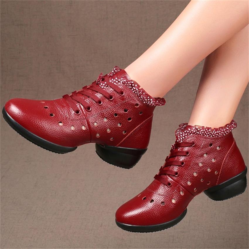 Women Sport Genuine Leather Dancing Shoes Girls Jazz Dancing Shoes Ladies Dance Sneakers Zapatos De Mujer Sapatos Femininos