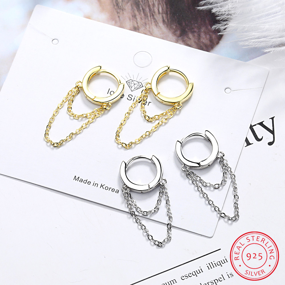 925 Sterling Silvler Tassel Chain Earring Elegance Girlfriend Gift Fine Silver Jewelry Double Drop Chain Cz Ear Wire