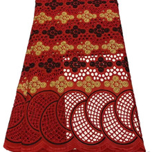 Latest Design African 100% Cotton Lace Fabric With Stones Embroidery Nigerian Swiss Voile Lace In Switzerland 5 yards 1640