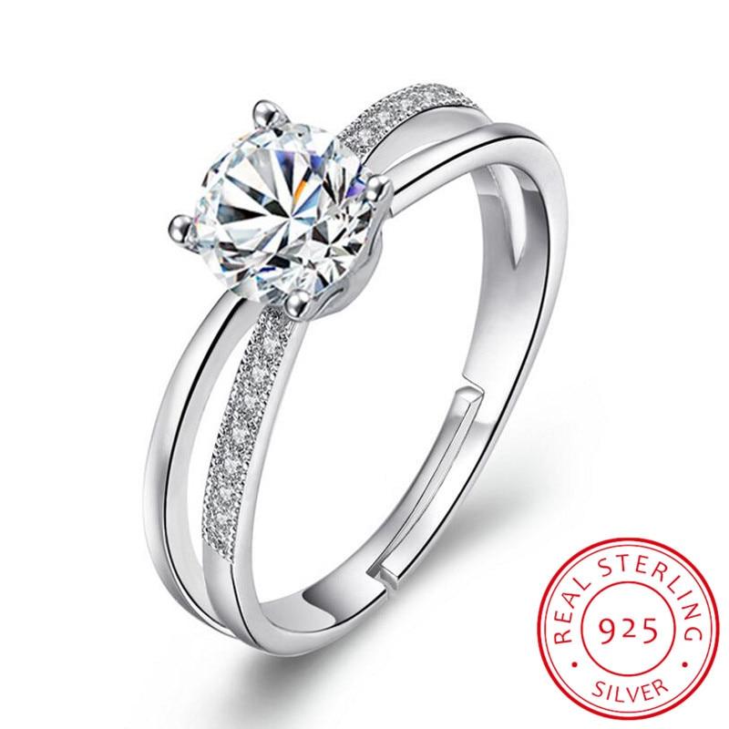 Anillo de boda de Plata de Ley 925 para mujer, anillo de apertura de lujo de Zirconia cruzada, anillo de prata, regalo de San Valentín, S-R131