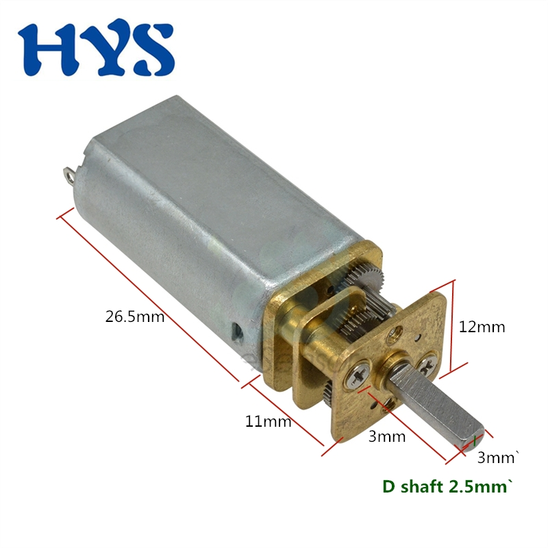 HYS Motor DC 3V 6V 12V Gear Electric Mini Speed Reducer Motor 12 volt V Micro DC12V Motors 35/50/60/82/120/410/1200rpm JGA13-050