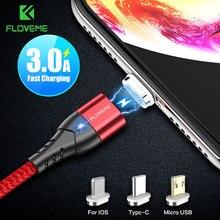 FLOVEME 3A Cavo USB Magnetico Per il iPhone Micro USB di Tipo C Cavo di Ricarica Veloce Magnete Cavo del Caricatore Micro usb Per samsung Xiaomi