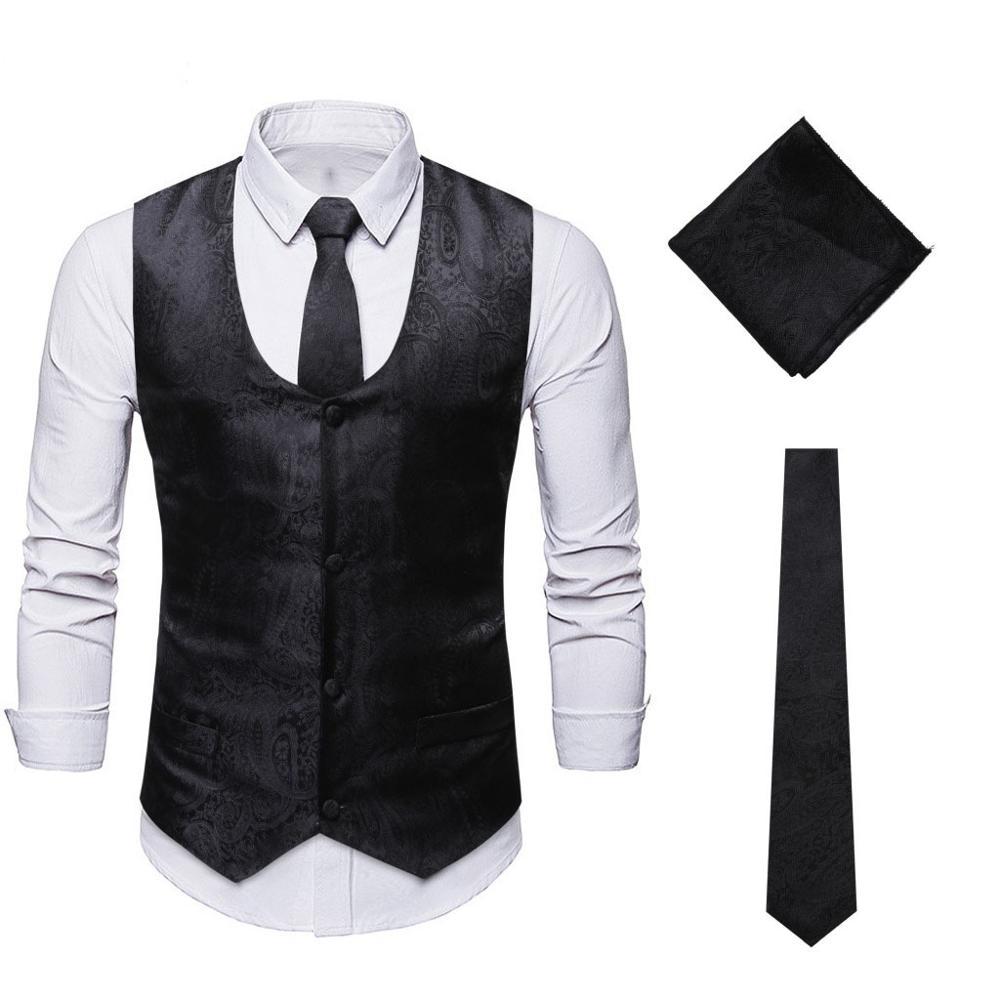 Men's Black Paisley 3pcs Set Suit Vest Floral Jacquard Waistcoat Vest Pocket Handkerchief Tie Suit Set Pocket Square Set XXL